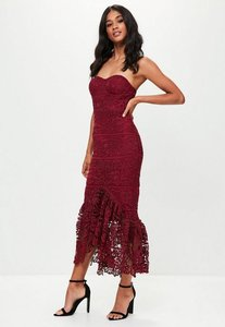 Read more about Red lace fishtail maxi dress red