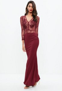 Read more about Burgundy lace applique plunge crepe maxi dress red