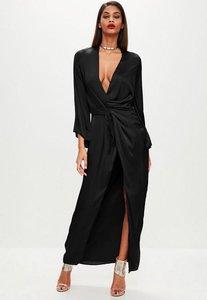 Read more about Black satin plunge kimono maxi dress black