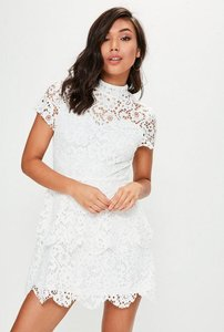 Read more about White short sleeve double layer skater dress white