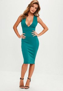 Read more about Green scuba v plunge strap side midi dress blue