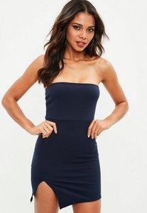 Read more about Navy scuba bandeau split side mini dress blue