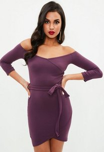 Read more about Plum long sleeve wrap front tie mini dress purple