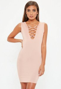 Read more about Nude lace up front bodycon dress beige