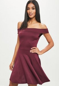 Read more about Burgundy bardot skater dress red