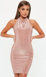 Read more about Nude high neck cowl bodycon dress beige