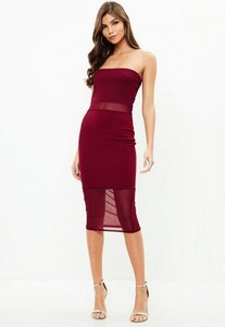 Read more about Burgundy mesh panel midi dress red