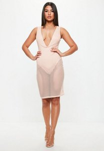 Read more about Pink fishnet plunge sleeveless midi dress beige
