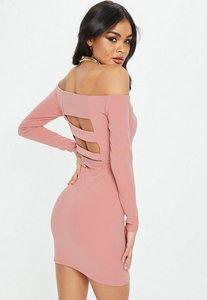 Read more about Rose bardot strap back mini dress pink