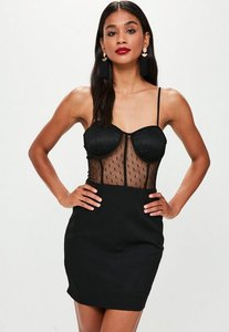 Read more about Black strappy bust cup lace insert dress black