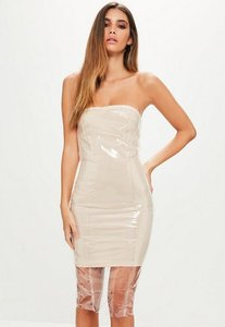 Read more about Nude clear vinyl bandeau bodycon dress beige