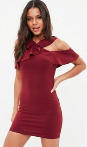 Read more about Burgundy crepe frill cold shoulder bodycon dress red
