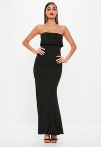 Read more about Black bandeau plated overlay fishtail maxi dress black