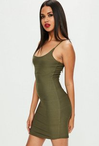 Read more about Khaki strappy scoop neck bandage bodycon dress beige