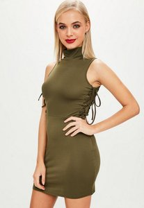 Read more about Khaki high neck lace up side bodycon dress beige