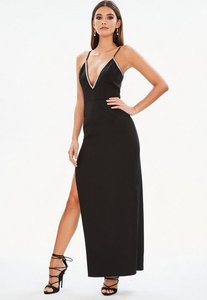 Read more about Black diamante trim side split maxi dress black