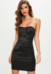 Read more about Black satin bustcup bandeau bodycon dress black
