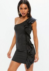 Read more about Black faux suede ruffle mini dress black