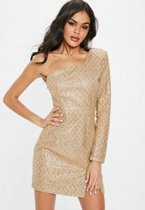 Read more about Gold one shoulder glitter hem bodycon dress gold