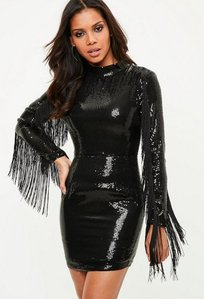Read more about Black sequin tassel bodycon dress black