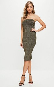 Read more about Gold metallic glitter bandeau midi dress gold