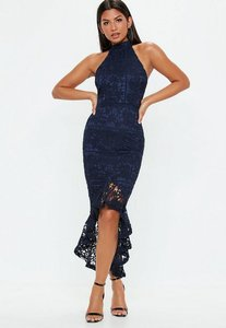 Read more about Navy lace high neck fishtail midi dress blue
