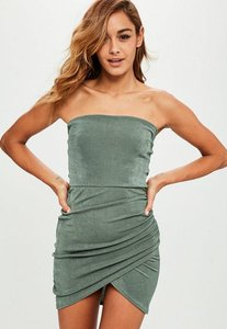 Read more about Khaki bandeau ruched side bodycon dress beige