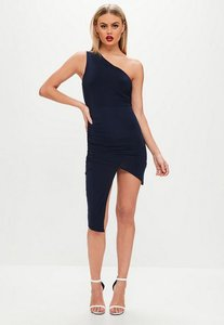 Read more about Navy one shoulder asymmetric dress blue