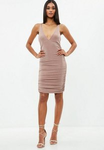Read more about Nude metallic slinky cross back ruched dress beige