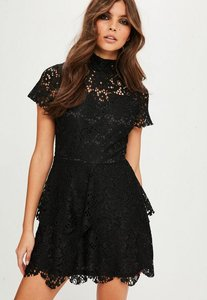 Read more about Black short sleeve double layer skater dress black