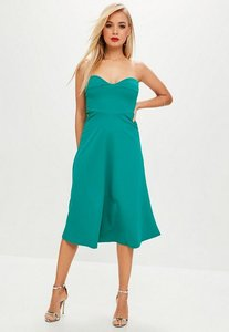 Read more about Green teal sweetheart bandeau midi skater dress blue