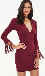 Read more about Burgundy plunge tassel open back mini dress red