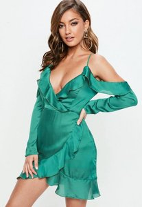 Read more about Green dobby satin cold shoulder shift dress green