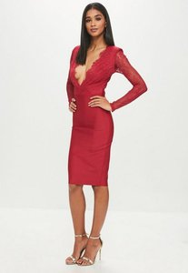 Read more about Red lace plunge bandage midi dress red