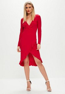 Read more about Red slinky plunge wrap midi dress red