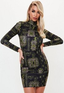 Read more about Black chain animal print long sleeve bodycon dress black