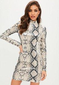Read more about Snakeskin print high neck backless velvet dress multi