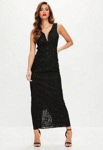 Read more about Black v plunge lace maxi dress black
