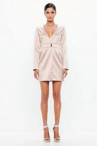 Read more about Pink satin tailored wrap dress pink
