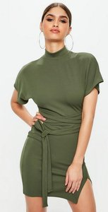 Read more about Khaki high neck wrap waist shift dress beige