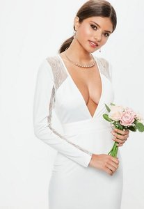 Read more about Bridal white long sleeve plunge open back lace insert maxi dress white