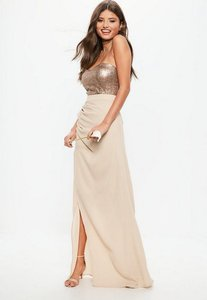 Read more about Bridesmaid nude sequin bandeau chiffon split hem maxi dress brown