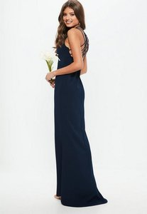 Read more about Navy 90s neck strappy fishtail maxi dress blue