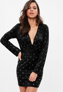 Read more about Black faux suede plunge eyelet bodycon dress black