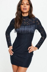 Read more about Navy high neck long sleeve lace tassel detail dress blue