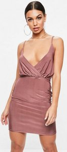 Read more about Pink slinky wrap strappy plunge bodycon dress pink