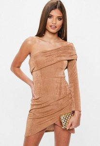 Read more about Brown slinky one shoulder overlay dress brown