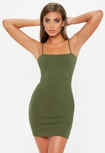 Read more about Khaki square neck bodycon dress beige