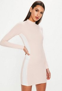 Read more about Nude high neck side stripe mini dress beige