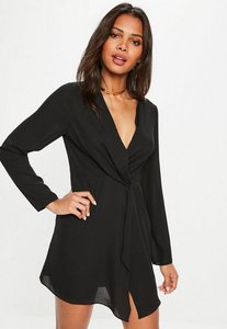 Read more about Black plunge twist front shift dress black